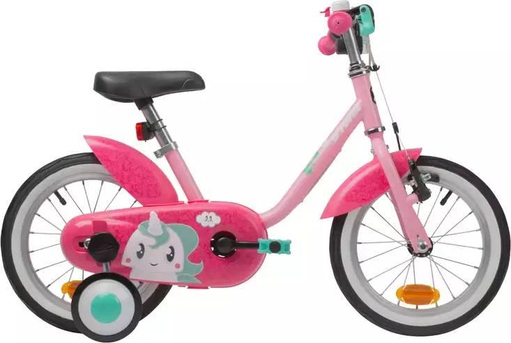 "2020 B'TWIN 500 Kids Bike, Unicorn - 14"""